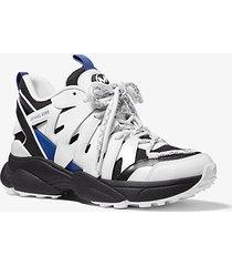 mk sneaker hero in pelle e mesh - bianco ottico/nero (nero) - michael kors