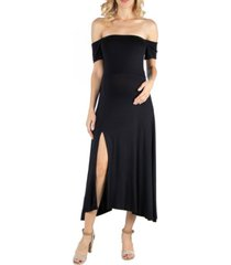24seven comfort apparel off shoulder soft flare maternity midi dress with side slit