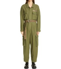women's r13 abu belted jumpsuit, size medium - green