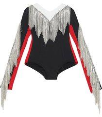 burberry fringe detail tri-tone stretch jersey bodysuit - black
