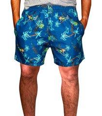 shorts praia ks estampado tactel com bolsos laterais ref.386.27 azul