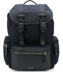 giorgio armani double-clip cargo backpack - blue