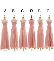 many styles a-line ruffles long chiffon bridesmaid dress/formal/bridal dress