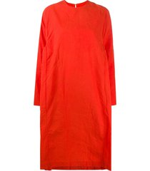 casey casey oversized long-sleeved cotton dress - orange