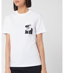 karl lagerfeld women's legend pocket t-shirt - white - l