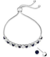 charter club silver-tone 2-pc. set crystal birthstone bolo bracelet & stud earrings, created for macy's