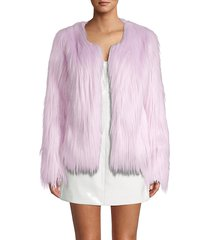 unreal fur women's unreal dream faux fur jacket - royal blue - size s