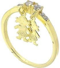 anel com zircônias e pingente duas meninas 3rs semijoias dourado