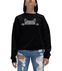 women's word art peeking cat crewneck sweatshirt