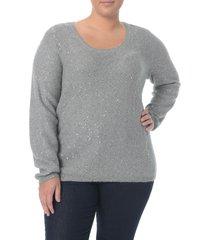 plus size women's nydj sequin scoop neck sweater, size 2x - grey