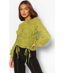 cotton poplin cup detail ruched blouse, olive