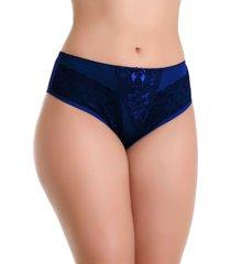 calcinha imi lingerie cós alto cintura alta em microfibra e renda vanusa azul marinho
