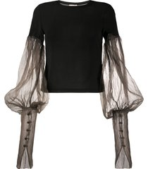 phaedo studios sheer puff-sleeve t-shirt - black