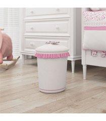 lixeira bebe menina branco/rosa princesinha grão de gente rosa