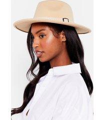 womens i spy faux wool fedora hat - beige