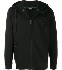 boss drawstring zipped hoodie - black