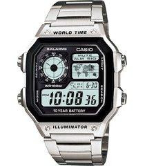reloj casio ae_1200whd_1av plateado acero inoxidable