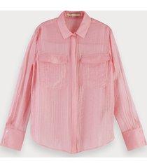 scotch & soda transparante roze blouse
