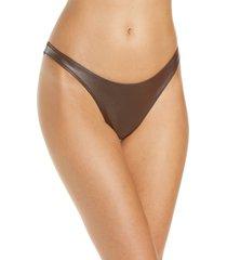 women's skims wet jersey dipped thong, size medium - brown