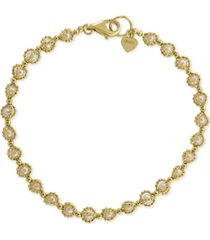 effy cultured freshwater pearl (3mm) link bracelet in 18k gold-plated sterling silver
