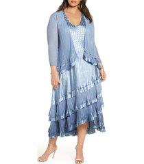 plus size women's komarov beaded charmeuse & chiffon tiered dress with jacket