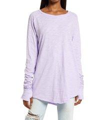 women's free people arden extra long cotton top, size medium - purple