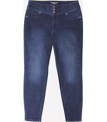 maurices plus size womens denimflex™ high rise dark wash triple button jegging blue