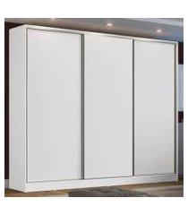 guarda roupa casal 100% mdf madesa zurique 3 portas de correr - branco branco