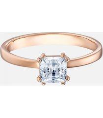 anillo con motivo attract, blanco, baño en tono oro rosa