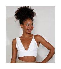 top cropped de crepe feminino mindset com amarração alças assimétricas decote v branco