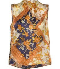 3349 - raya f blouse mouwloos multi/patroon sand