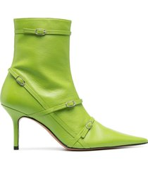 abra belt pointed ankle boots - green
