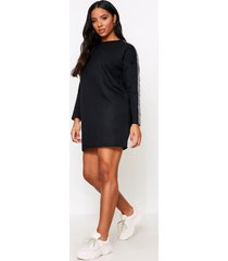 aztec tape detail sweater dress, black