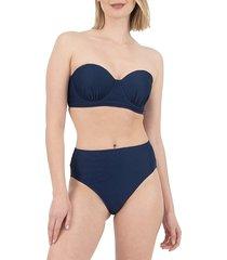 nine west women's molded push-up bikini top - navy - size l