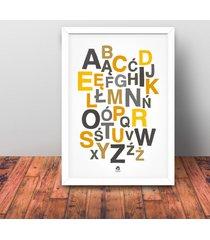 alfabet polski plakat 50 x 70 cm żółty