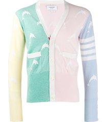 thom browne dolphin half drop intarsia v-neck cardigan - pink