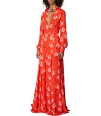 women's carolina herrera poppy print silk shirt, size 12 - red