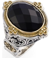 konstantino 'nykta' faceted stone ring, size 7 in silver/gold/black onyx at nordstrom