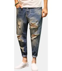 ankle lunghezza ripped pencil pantaloni hip-hop fashion casual jeans per uomo