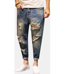 caviglia lunghezza matita strappata pantaloni moda hip-hop casual jeans per uomo
