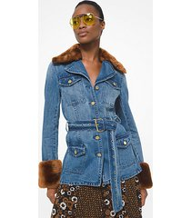 mk giacca in denim con cintura e pelliccia sintetica - indclsscstne - michael kors