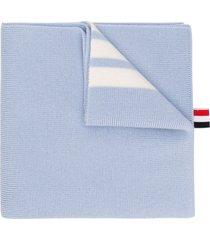 thom browne 4-bar merino scarf - blue