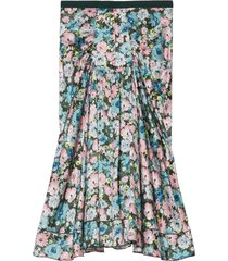 marc jacobs the 40's floral-print silk skirt - blue