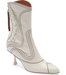 women's zimmermann ruffle patchwork bootie, size 11us - white