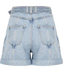 balmain b buckle denim shorts