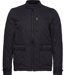 city microfibre quilt jacket doorgestikte jas blauw superdry