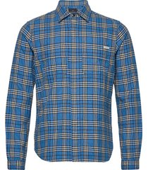 longsleeve shirt in mid weight flannel overhemd casual blauw scotch & soda