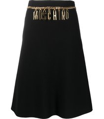 moschino logo belted a-line skirt - black