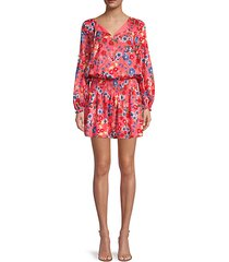 floral-print smocked mini dress