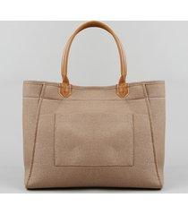 bolsa shopper feminina com bolso caramelo
